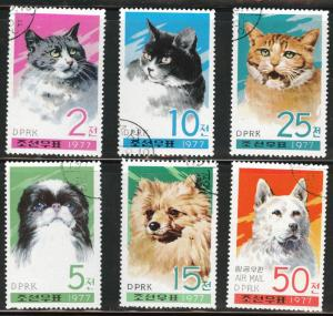 Korea DPRK Scott 1607-1612 Used CTO 1977 Cat Dog set