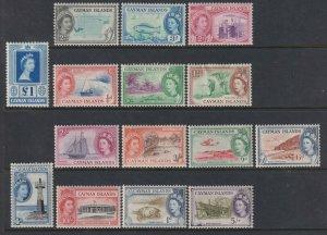 Sc# 135/ 149 Cayman Island 1953 ML-MHH QE portrait type set to £1 CV $125.10