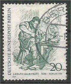 BERLIN, 1969, used 20pf Newspaper Vendor Scott 9N271