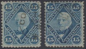 ARGENTINA 1867-68 SAN MARTIN Sc 21 TOP VALUE TWO SINGLES SHADES USED SCV$30.00