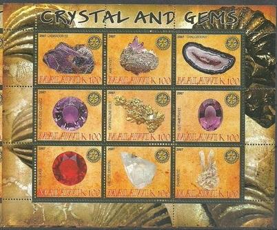 Malawi 2007 M/S Minerals Crystal Gems Stone Nature Stamps MNH *slightly damaged*