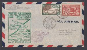 New Caledonia Sc 143, C2 on 1940 Pan-Am First Flight cover, Noumea-Canton Island