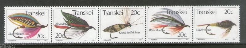 Transkei 1983 Insects Fishing Flies Wildlife Animals Fauna Sc 72a-e MNH # 0010