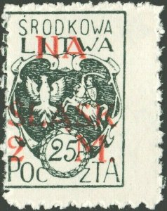 CENTRAL LITHUANIA / MITTELLITAUEN - 1921 Mi.26A 2M/25f Mint** - ref.881k