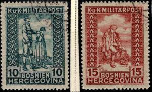 Bosnia Herzegovina Scott B16-B17  Used semi-postal stamp set