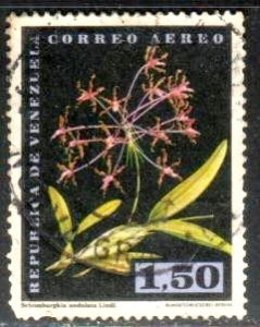 Orchid, Schomburgkia Undulata Lindl, Venezuela stamp SC#C802 Used