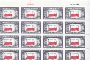 Doyle's_Stamps: MNH Sheet of 1943 Overrun Nations' Poland, Scott #909**