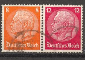 1933 Se-Tenant, Hindenburg, Michel W 46, used, no faults, Watermark. Honeycomb
