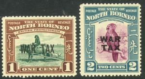 NORTH BORNEO 1941 WAR TAX Set Scott Nos. MR1-MR2 Mint LH