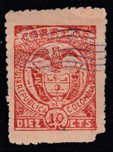 Colombia 1899 Cartagena Issues 10c Red on Salmon M Mint. Scott 173