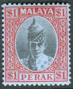 MALAYA PERAK-1938-41 $1 Black & Red/Blue.  A mounted mint example Sg 119
