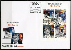 SIERRA LEONE 2020  65th  ANIVERSARY OF BILL GATES SHEET FIRST DAY COVER