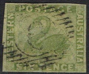 WESTERN AUSTRALIA 1860 SWAN 6D IMPERF USED