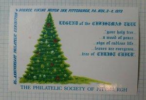 Pittsburgh Society Stamp Expo 1973 Christmas Tree Philatelic Souvenir Ad Label