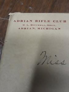 1916 Letter, Adrian Rifle Club