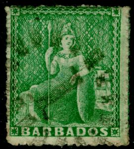 BARBADOS SG21, ½d Green, USED. Cat £35.