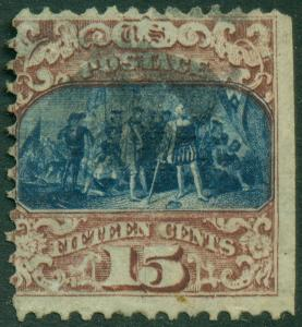 #119 15¢ FINE USED TINY THIN CV $250 BL318