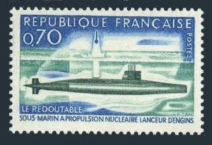 France 1259 block/4,MNH.Michel 1686. Nuclear Submarine Le Redoutable,1969.