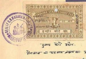 India States INDORE Document REVENUES 10a Court Fee {samwells-covers}MS2520*