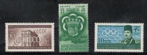 Egypt 1951 1st Mediterranean Games Scott # 292 - 294  MH