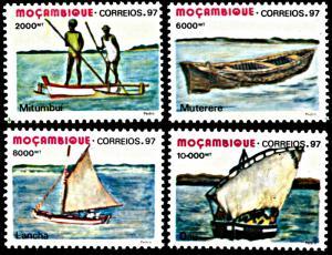 Mozambique 1279-1282, MNH, Traditional Mozambique Boats