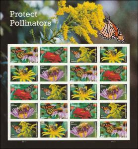 US 5228-5232 5232a Protect Pollinators forever sheet (20 stamps) MNH 2017