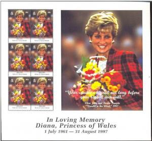 TURKS CAICOS SHEET MNH LADY DI DIANA PRINCESS WALES ROYALTY
