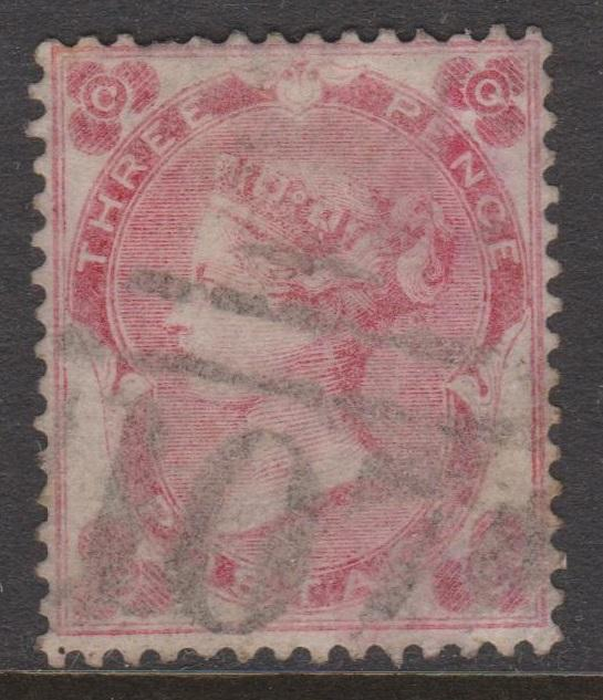 Great Britain 1862 QV 3d Pale Rose Sc#37 Position CQ Used