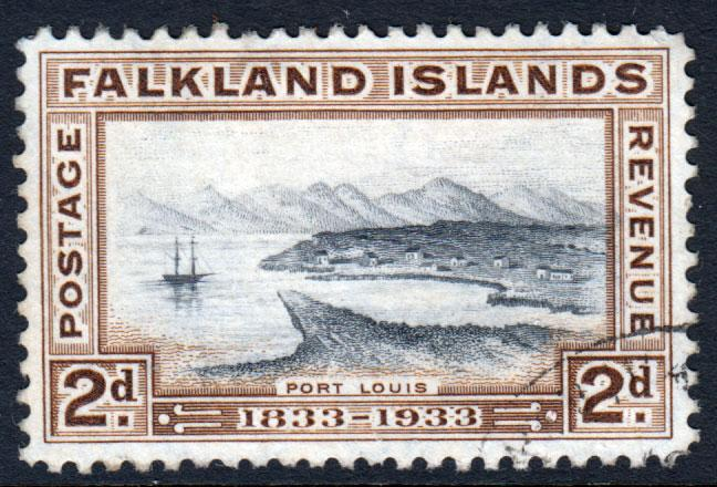 Falkland Islands KGV 1933 2d Black Brown SG130 Fine Used