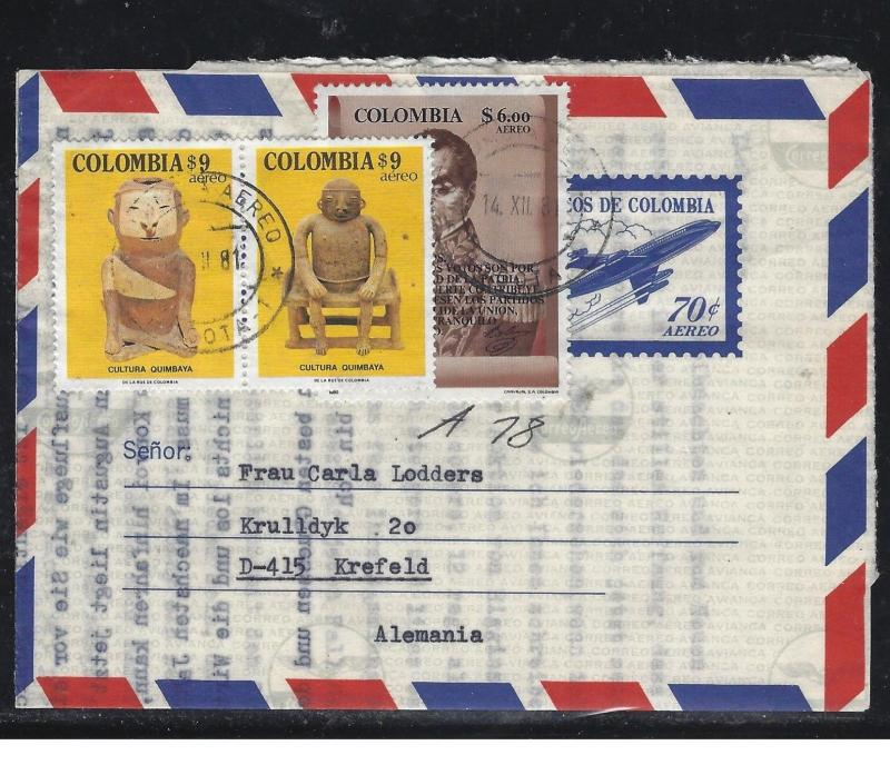 COLOMBIA  (PP0308B) .70 AIRPLANE AEROGRAMME UPRATED $9X2+$6   TO GERMANY
