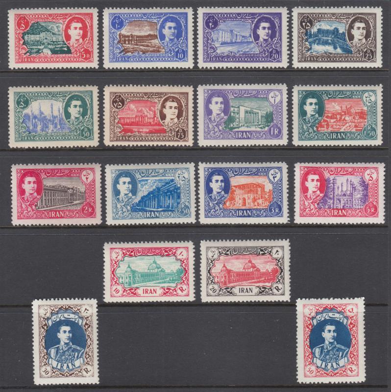 Iran Sc 915-930 MNH. 1949-50 Definitives, complete set, fresh, bright, VF.