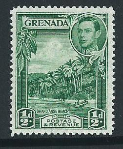 Grenada SG 153a blue green MLH small black remnant on gum