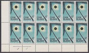 COOK IS 1965 Solar Eclipse plate / imprint block of 12 MNH.................87413