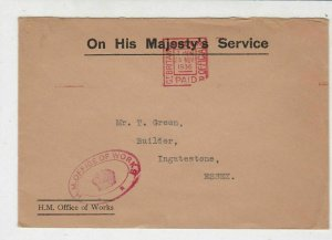 England 1936 On His Majestys Service Office of Works Meter Mail Cover Ref 31849