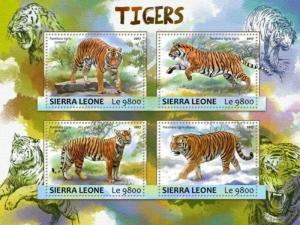 Sierra Leone - 2017 Tigers on Stamps - 4 Stamp Sheet - SRL17303a