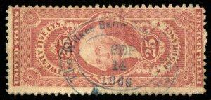 B646 U.S. Revenue Scott #R44c 25c Certificate, Wilkes Barre Coal & Iron Co. cxl