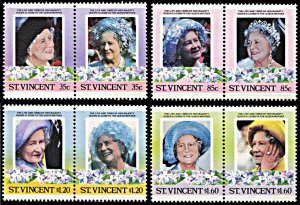 Saint Vincent 861-864, MNH, Queen Mother's 85th Birthday se-tenant pairs