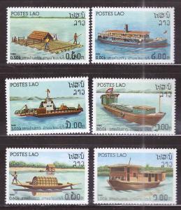 LAOS Scott 393-398 river boat ship set, NGAI MNH**