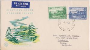 Norfolk Islands Scott 23-24 Typewritten Address.
