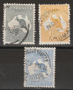 AUSTRALIA 1913 KANGAROO 2D 4D AND 6D 1ST WMK USED