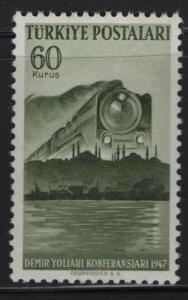 POLAND, 962, MNH, 1947, APPROACHING TRAIN, ISTANBUL SKYLINE & SIRKECI TERMINUS