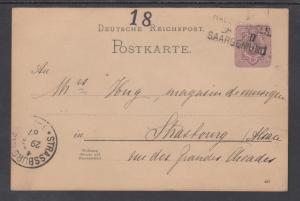 Germany Mi P10 used 1880 5pf Postal Card to Saar, HAGENAU-ELS R.P.O. Cancel