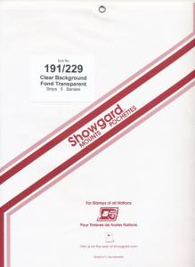 Showgard Stamp Mount 191/229 CLEAR Background Package of 5