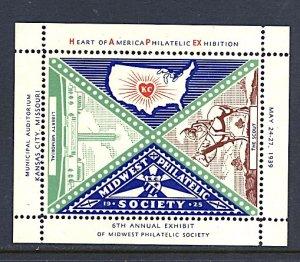 USA Philatelic Cinderella Midwest Phil Society Kansas City MO 1939 S/S