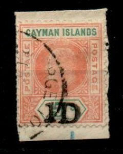CAYMAN ISLANDS SG19 1907 1d ON 5/= SALMON & GREEN USED ON SMALL PIECE
