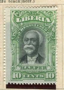 LIBERIA; 1903 early Harper Pictorial issue fine Mint hinged 10c. value