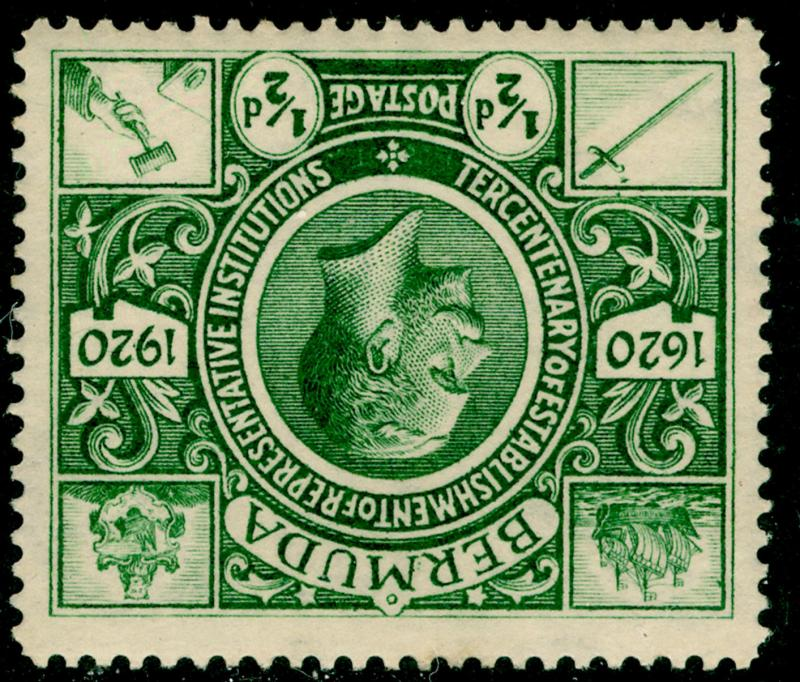 BERMUDA SG75w, ½d green, LH MINT. Cat £250.