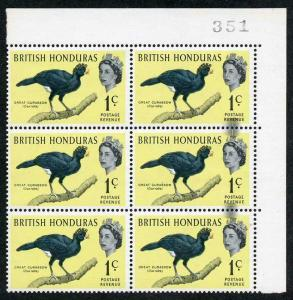 British Honduras SG202 Great Curassow with PRINTING FLAW at right (bottom Pair