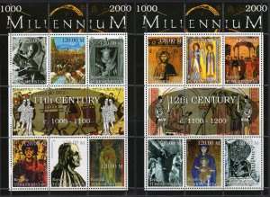 Turkmenistan 1999 MILLENNIUM (1000-2000) 9 Sheetlets of 6 + 3 Sheetlets of 9 MNH