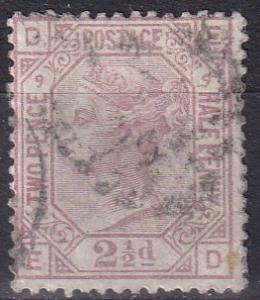 Great Britain #67 Plate 9  Used  CV $60.00 (K2116)
